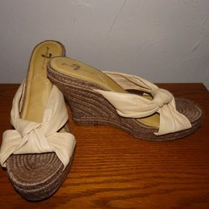 7 For All Mankind Beige Leather Wedge Heel Sandles